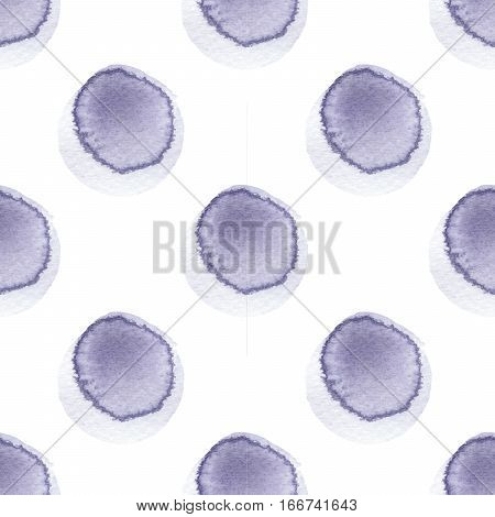Abstract pattern with of watercolor circles in shades of blue violet and gray. Hand drawn spots. Pattern blue polka dot. Texture for textile wrapping paper greeting card invitation wallpaper.