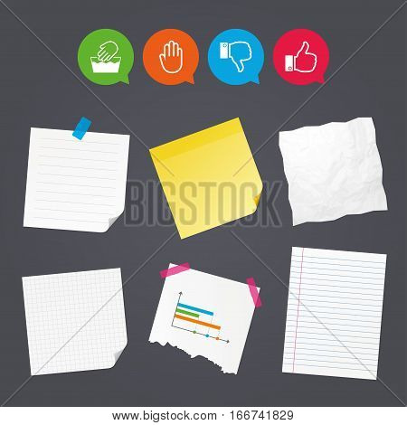 Business paper banners with notes. Hand icons. Like and dislike thumb up symbols. Not machine washable sign. Stop no entry. Sticky colorful tape. Speech bubbles with icons. Vector