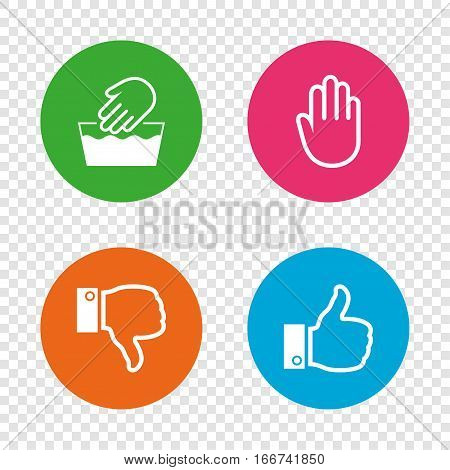 Hand icons. Like and dislike thumb up symbols. Not machine washable sign. Stop no entry. Round buttons on transparent background. Vector