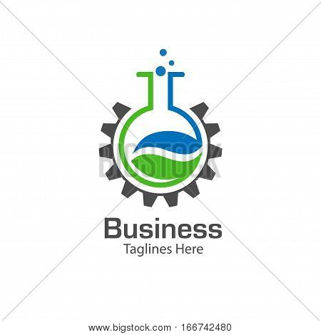 lab logo with leaf and  gear symbol , colored test tube with fresh green lea and gear logo  , bio lab logo vector