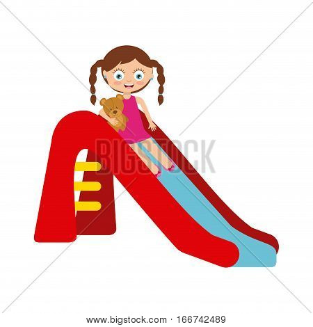 cartoon happy girl playing on the slide over white background. colorful design. vector illustration