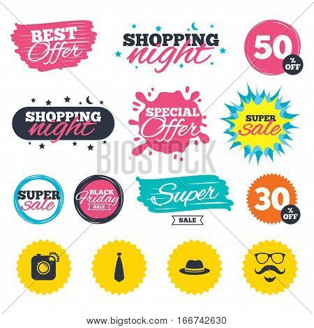 Sale shopping banners. Special offer splash. Hipster photo camera. Mustache with beard icon. Glasses and tie symbols. Classic hat headdress sign. Web badges and stickers. Best offer. Vector