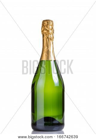 Champagne bottle isolated on white with reflection