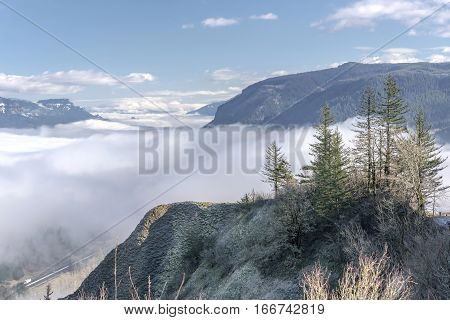 Fog in the valley in the Columbia River Gorge Oregon.