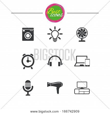 Home appliances, device icons. Ventilator sign. Hairdryer, washing machine and lamp symbols. Classic simple flat icons. Vector