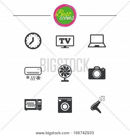 Home appliances, device icons. Electronics signs. Air conditioning, washing machine and microwave oven symbols. Classic simple flat icons. Vector