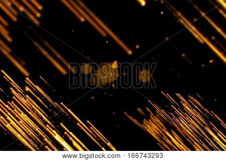 gold glow glittering particles bokeh lines transition sparkle effect on black background holiday happy new year concept