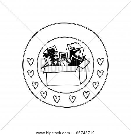 silhouette circular border with hearts and box with study tools vector illustration