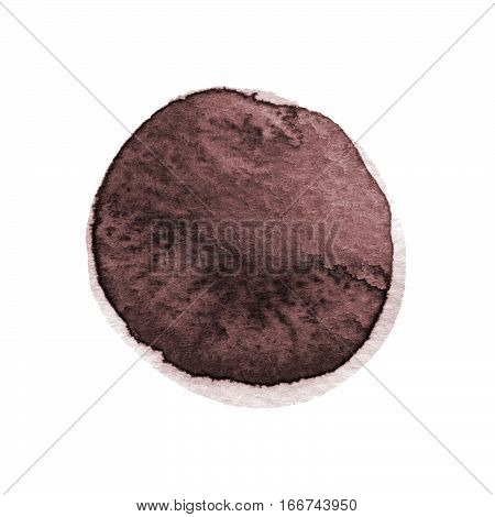 Dark brown sepia chocolate round watercolor stain isolated on white background with realistic paper texture. Watercolour coffee vibrant spot. Hand drawn template with space for own text.
