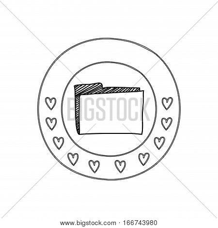 silhouette circular border with hearts and office folder vector illustration