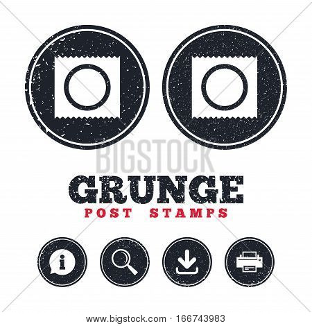 Grunge post stamps. Condom in package safe sex sign icon. Safe love symbol. Information, download and printer signs. Aged texture web buttons. Vector