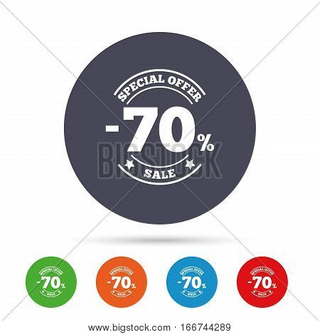 70 percent discount sign icon. Sale symbol. Special offer label. Round colourful buttons with flat icons. Vector