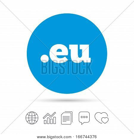Domain EU sign icon. Top-level internet domain symbol. Copy files, chat speech bubble and chart web icons. Vector