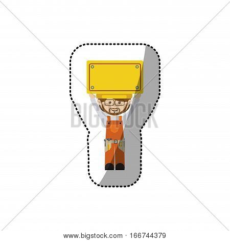 sticker avatar worker with toolkit and plaque up vector illustration