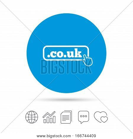 Domain CO.UK sign icon. UK internet subdomain symbol with hand pointer. Copy files, chat speech bubble and chart web icons. Vector