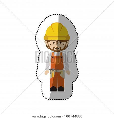 sticker avatar worker with toolkit and glasses vector illustration