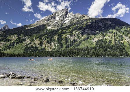 Jenny Lake with Kayaks in Grand Teton