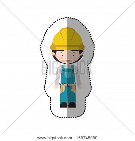 sticker avatar worker with toolkit and black hair vector illustration