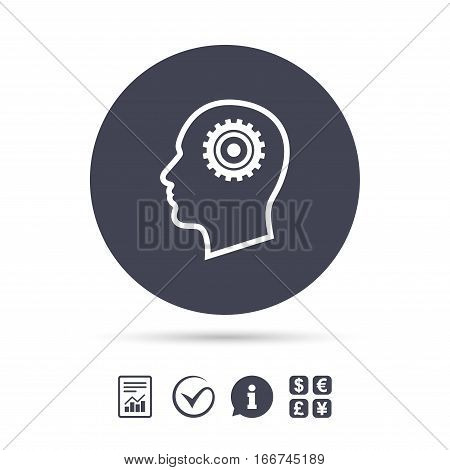 Head with gear sign icon. Male human head symbol. Report document, information and check tick icons. Currency exchange. Vector