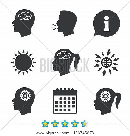 Head with brain icon. Male and female human think symbols. Cogwheel gears signs. Woman with pigtail. Information, go to web and calendar icons. Sun and loud speak symbol. Vector