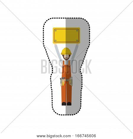 sticker worker with toolkit and plaque up vector illustration
