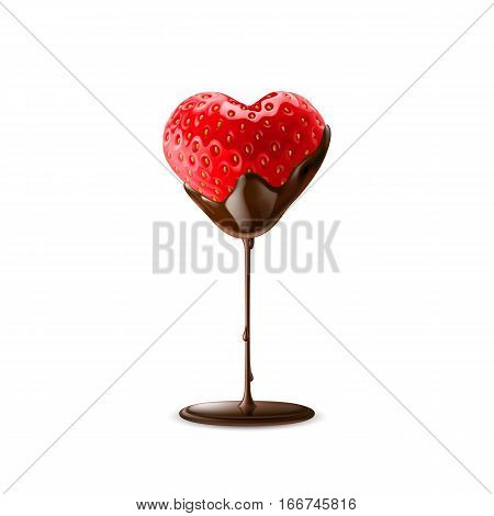 Strawberry with Chocolate Dipping Valentine Day Isolated on White Background