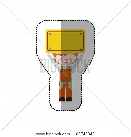 sticker avatar worker brown hair with toolkit and plaque up vector illustration