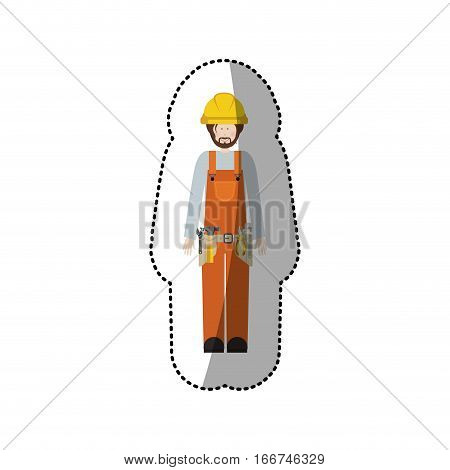 sticker man worker with toolkit and helmet vector illustration