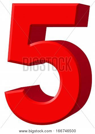 Numeral 5, Five, Isolated On White Background, 3D Render