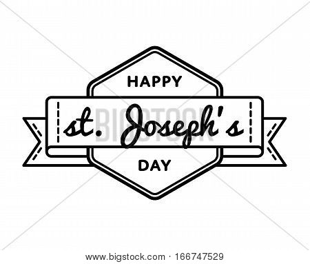 Happy St. Josephs day emblem isolated vector illustration on white background. 19 march world catholic holiday event label, greeting card decoration graphic element