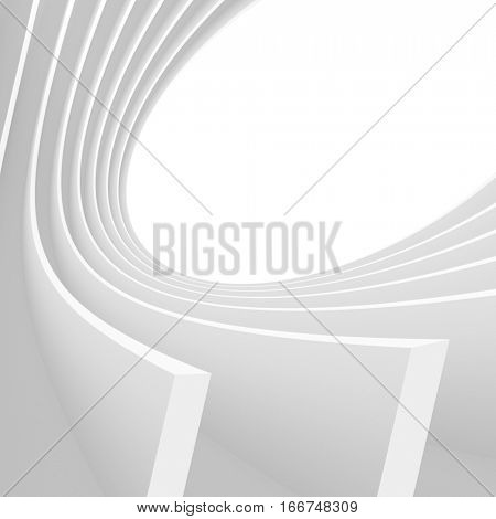 Abstract Architecture Background. White Circular Tunnel Building. 3d Illustration of Minimal Building Construction