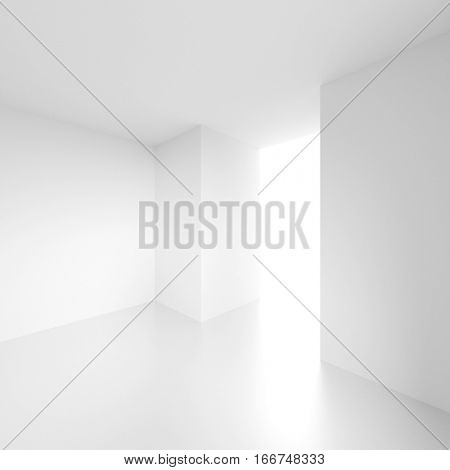 3d Render of White Building Construction. Abstract Futuristic Architecture Background. Minimal Office Interior Design. Empty Room with Window