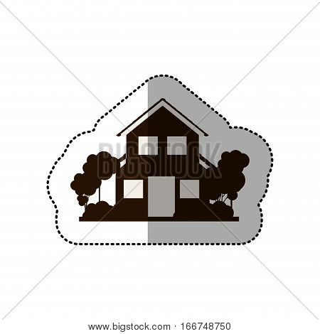 sticker silhouette house of two floors with trees vector illustration