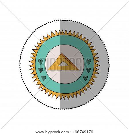 colorful sticker in sun shape with hearts and rule squad vector illustration