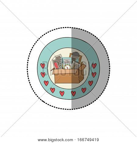 colorful sticker with circular border with hearts and box with study tools vector illustration