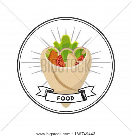 wrap with vegetebles over white background. fast food concept. colorful design. vector illlustration