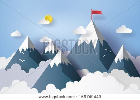 illustration of nature landscape and concept of business cloud and mountian with red flag .design by paper art and craft style