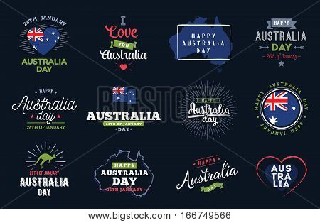 Happy Australia Day typographic set. Vector text design. Usable for banners, greeting cards, gifts etc. 26th of January.