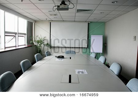 Projection screen in the boardroom in office