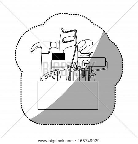 sticker contour toolkit inside of wooden box shading . Vector illustration