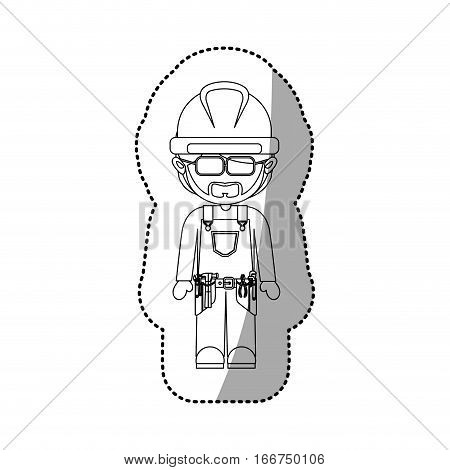sticker contour avatar worker with toolkit and beard vector illustration