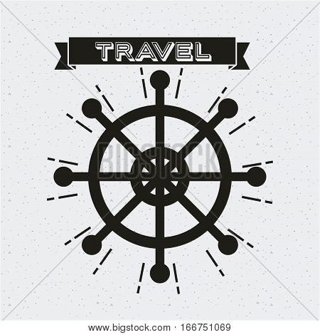 wanderlust card with rudder icon. black and white design. vector illustration