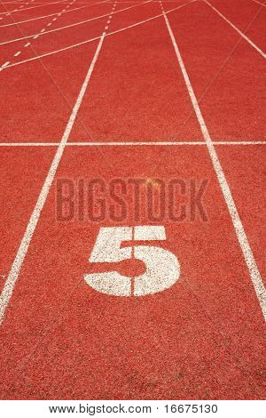 5 on a running track finish line