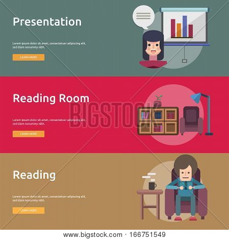Education and Science Conceptual Design | Set of great banner flat design illustration concepts for education, science, learning, reading and much more.