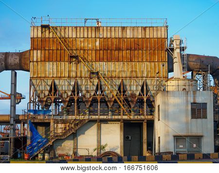 The Quarrying factory industrial with blue sky background