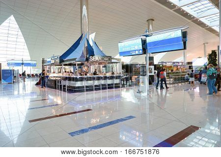 DUBAI, UAE - CIRCA NOVEMBER, 2016: restaurant in Dubai Airport. There are a lot of restaurants, bars, cafes and shops in Dubai International Airport. Almost all of them are open twenty-four hours.