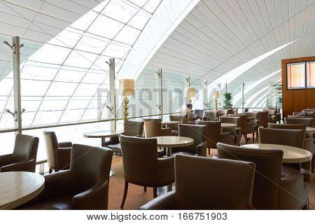 DUBAI, UAE - CIRCA NOVEMBER, 2016: Marhaba lounge in Dubai International Airport.