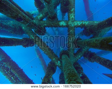 Oil and gas wellhead platform under water of oil and gas production tubing casing the depth of casing are 150-200 meters and production tubing are approximate 2000-3000 meters