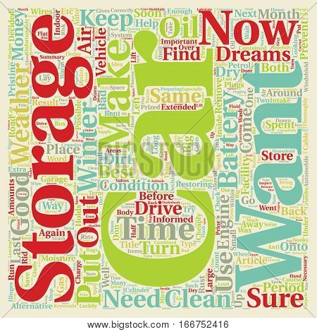 How To Store The Car Of Your Dreams Correctly text background wordcloud concept