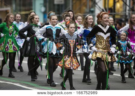 St. Patrick's Day Parade along 5th Avenue on March 17, 2016 in New York City, United States.